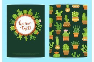 Vector card template with lettering We are cacti