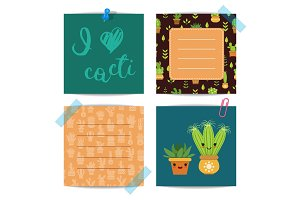 Vector notes set with lettering and cacti elements