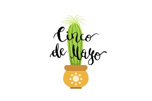 Vector illustration with cactus in pot and cinco de mayo
