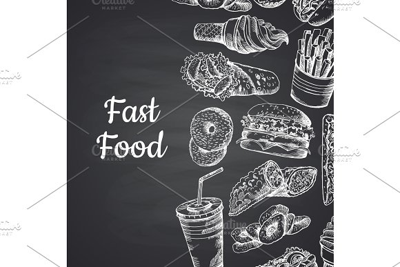 Vector illustration with white fast food hand drawn on chalkboard