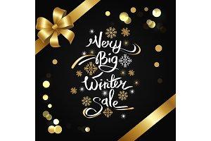 Very Big Winter Sale Inscription on Snowflakes