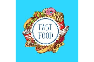 Vector hand drawn colored fast food elements gathered under circle illustration