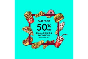 Vector sale illustration with colored hand drawn fast food elements