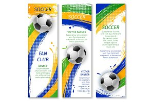 Soccer game banners for sport design