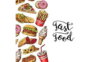 Vector hand drawn colored fast food elements illustration