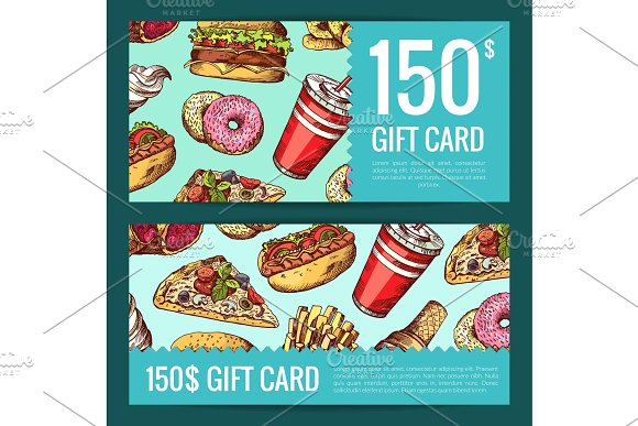 Vector Discount Or Gift Voucher With Hand Drawn