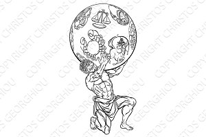 Atlas Greek Mythology Illustration