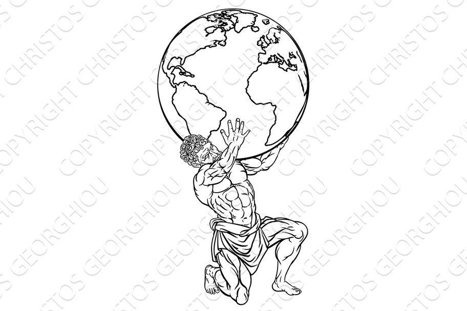 Atlas Mythology Illustration Illustrations Creative Market