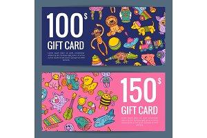 Vector discount or gift voucher kid or children toys elements