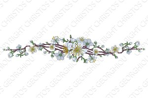 Peach Cherry Blossom Flowers Background Design