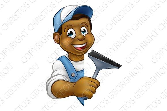 Window Cleaner Cartoon Character