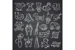 Kkid toys set hand drawn and isolated on black chalkboard