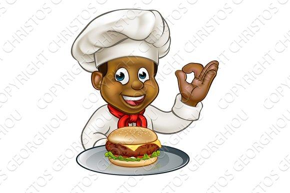 Chef Holding Burger Cartoon Character