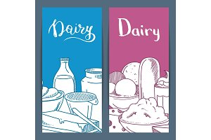 Vector sketched dairy goods flyer or banner templates