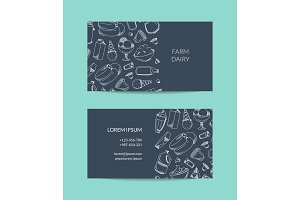 Vector business card template for dairy shop or organic farm with dairy elements