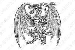 Vintage Retro Style Dragon