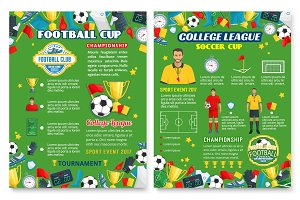 Football sport poster with soccer team equipment