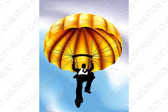 Golden Parachute Businessman Concept