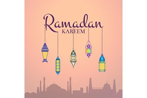 Vector Ramadan illustration with lanterns hanging on Ramadan