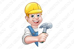 Carpenter Builder Cartoon Character