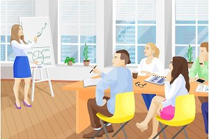 Business Seminar in Office Vector Illustration