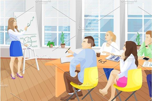 Business Seminar in Office Vector Illustration
