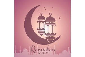 Vector Ramadan illustration with lanterns around moon with arabic city silhouette