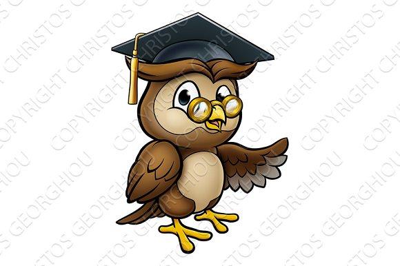 Wise Owl Cartoon Graduate Teacher Pointing