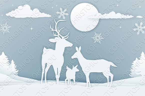 Deer Winter Scene Paper Art in Illustrations