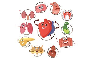 Funny medical icons of organs, heart, lungs, stomach. Set of round avatars cartoon characters of internal organs. Vector illustrations