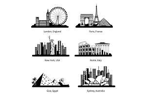Vector silhouette set with panoramas of famous landmarks