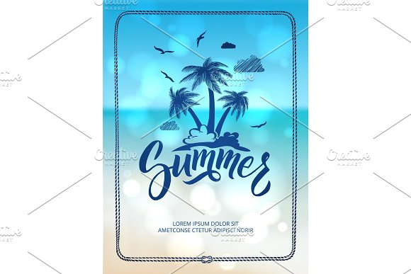 Poster Of Happy Summer Time Postcard Decoration With Hand Drawn Letters And Words Vector Illustration