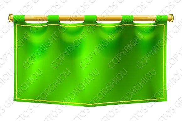 Medieval Green Royal Banner Flag