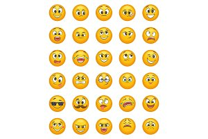 Emoticon set with different funny emotions. Vector character set