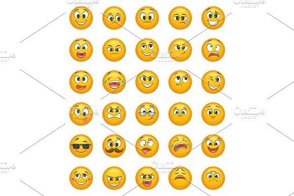 Emoticon Set With Different Funny Emotions Vector Character Set