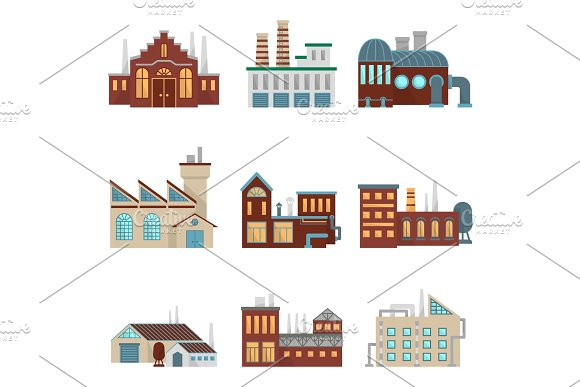 Industrial factory buildings with pipe and bad environment. Vector eco symbols