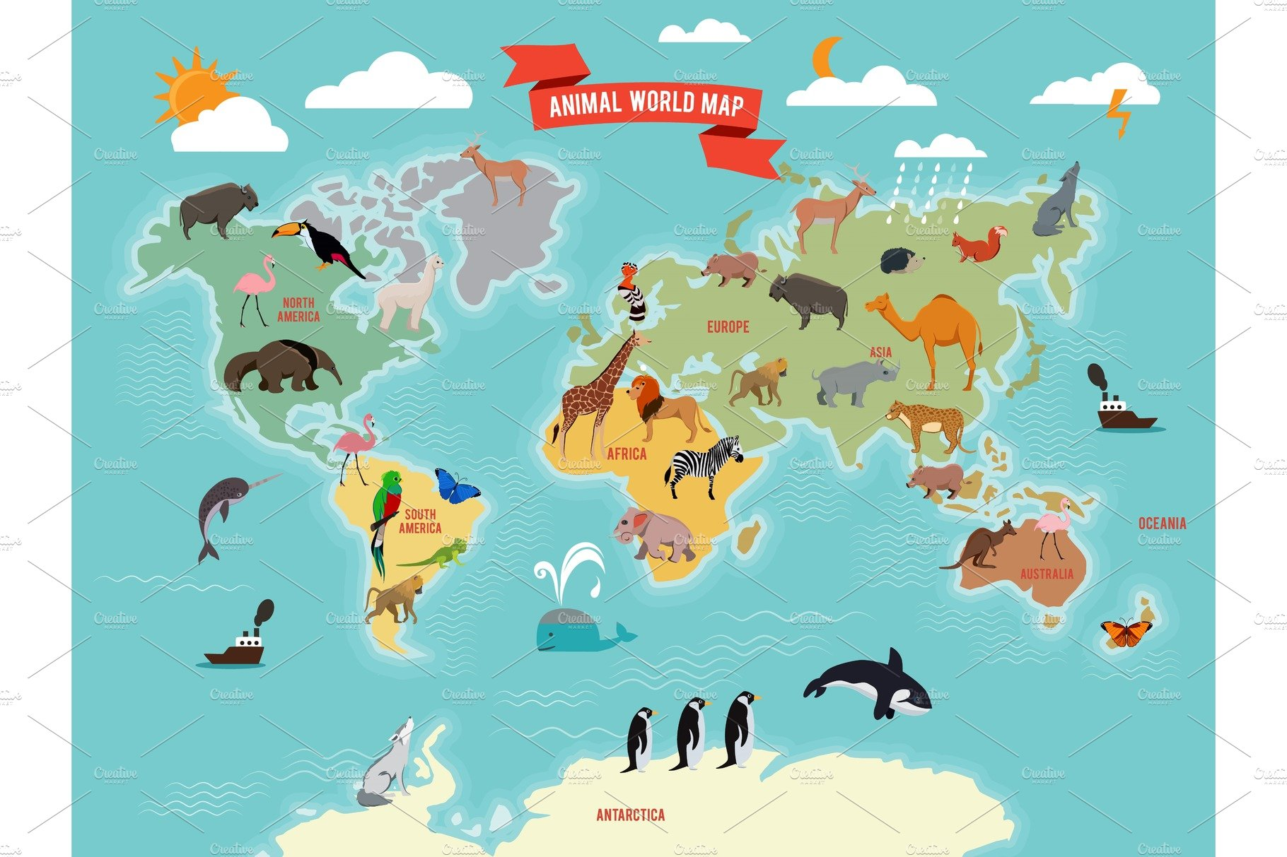 Illustration Of Wildlife Animals On The World Map Vector