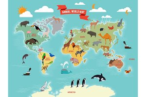 Illustration of wildlife animals on the world map. Vector illustrations set