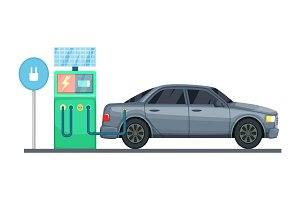 Vector illustration of electrical car charging station