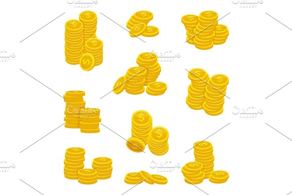 Different stacks of golden coins. Vector illustrations of gold money