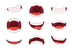 Vector illustrations of funny cartoon mouth with different expressions