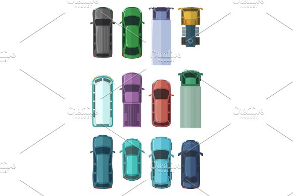 Different Roofs Of Automobiles In The City Top View Cars Vector Illustrations In Flat Style