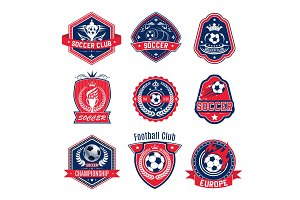 Soccer ball shield badge of football sport club