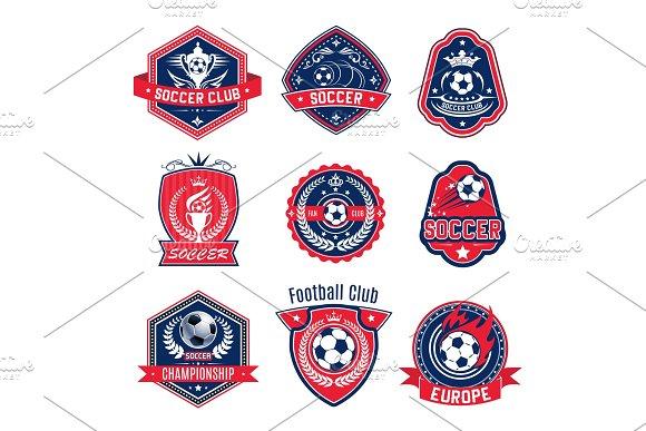 Soccer ball shield badge of football sport club