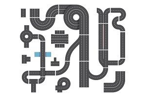 Map from different fragments of city road. Highway traffic, intersecting and cars. Top view vector set