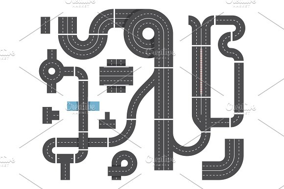 Map From Different Fragments Of City Road Highway Traffic Intersecting And Cars Top View Vector Set