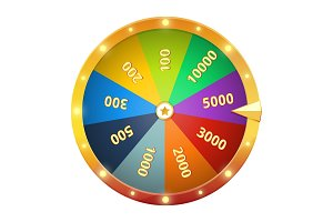 Spinning wheel with prizes. Game roulette. Vector illustration isolate