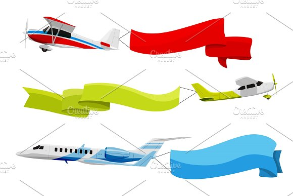 Attached Banners To Flying Airplanes Vector Illustration In Cartoon Style