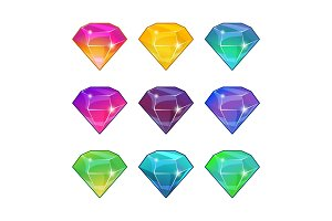 Brilliant diamonds in different colors. Vector cartoon set for game design
