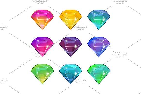 Brilliant Diamonds In Different Colors Vector Cartoon Set For Game Design